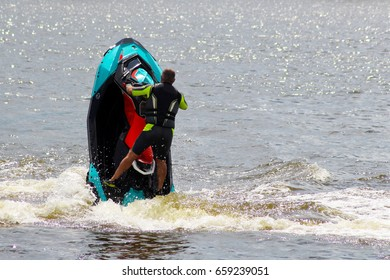 Active leisure on the sea water at the aquabike competition