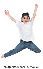 Active Little boy jumping on isolated white background