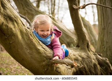 Active little girl enjoying climbing on tree