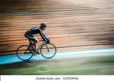 Active man on a velodrome