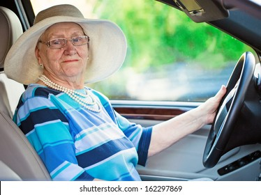 active mature woman in a car