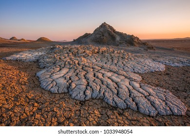 Active mud volcanoes in Gobustan desert, Azerbaijan