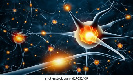 Active nerve cells; 3d illustration