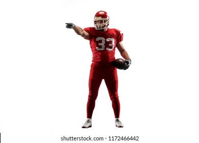 Active one american football player isolated on white background. Fit caucasian man in uniform posing over studio background. Super Bowl concept
