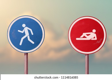 Active and passive, lazy and workaholic, choleric and phlegmatic -  running man and lying man. Road signs.