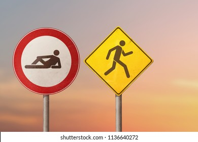 Active and passive, lazy and workaholic, choleric and phlegmatic - lying man and running man. Road signs.