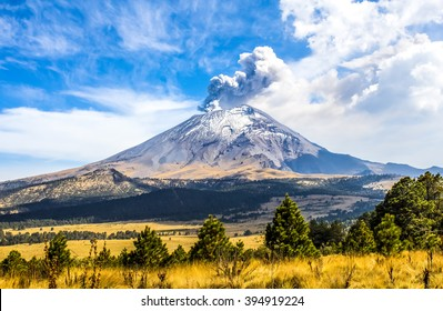Active Popocatepetl volcano in Mexico