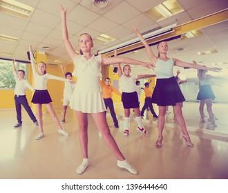 Active  positive children  posing at dance  class