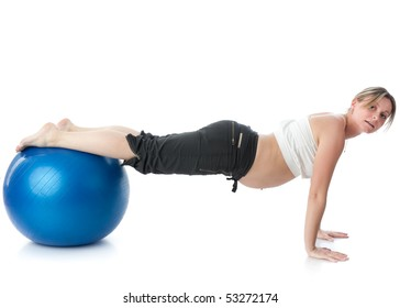 The active pregnant woman does sports exercises on a white background. Care of health and pregnancy.