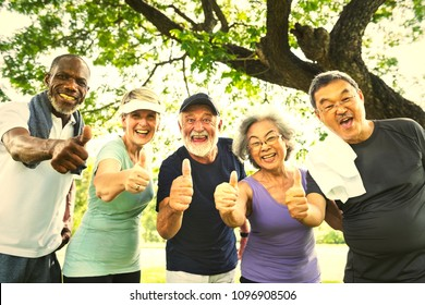 Active senior friends exercising at the park