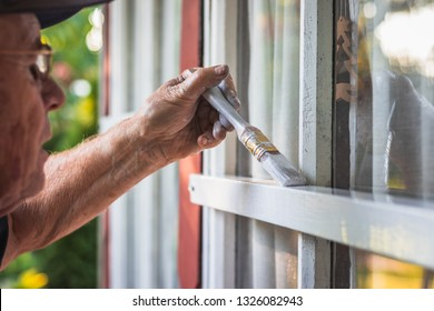 Active senior repairman is painting window frame by paintbrush. Old man with painting experience