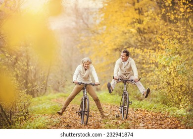 Active seniors on bikes in autumn nature