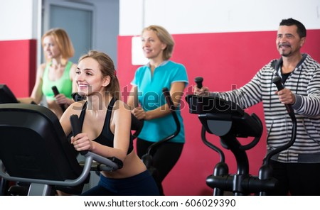 Active spanish adults gym working out stock photo edit now