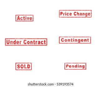 Active, Under Contract, SOLD, Price Change, Contingent, Pending in RED STAMP WITH SCRATCH EFFECT ON WHITE BACKGROUND. (TERMS OFTEN USED IN BUYING AND SELLING REAL ESTATE PROPERTY)