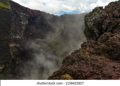 Active Vesuvius volcano crater next to Naples and Pompeii. Campania region, Italy.