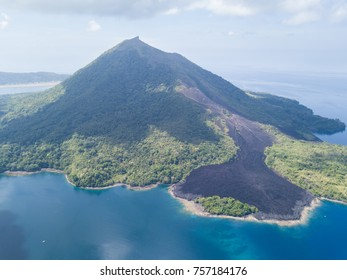 The active volcano of Banda Api in Indonesia last erupted in 1988. One of its major lava flows is still clearly visible and has not yet been colonized by vegetation.