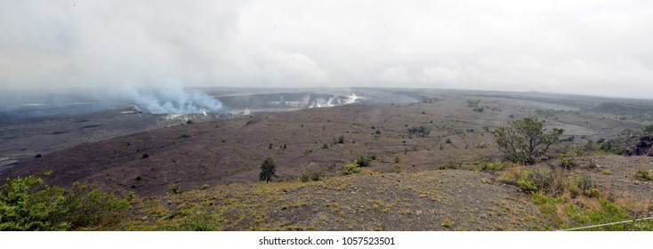 Active volcano and crater on the Big Island Hawaii