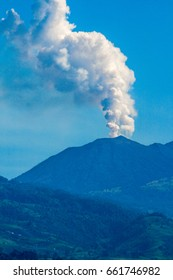 Active volcano with eruption in Costa Rica