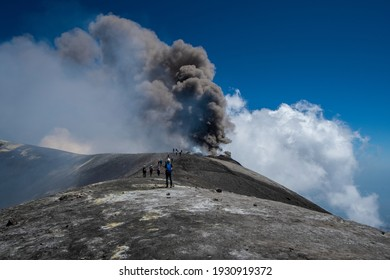 Active Volcano Mount Etna in southern Italy