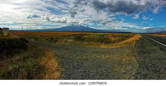 Active Volcano, Mt Ruapehu photographed from the desert road in New Zealand