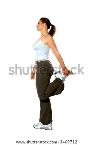 5e14c443a7773 Active woman in athletic attire, doing her hamstring with her left leg,  isolated on