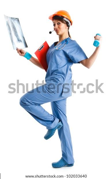 Active woman doing multiple tasks