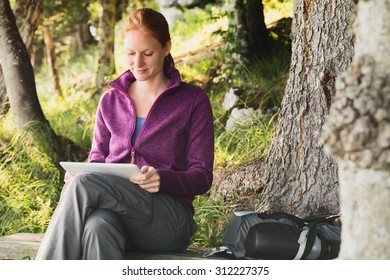 An active woman on a hiking trip uses a tablet computer in a forest.