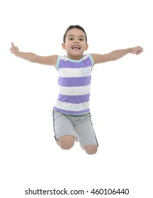 Active Young Boy Jumping With Joy Isolated on White Background