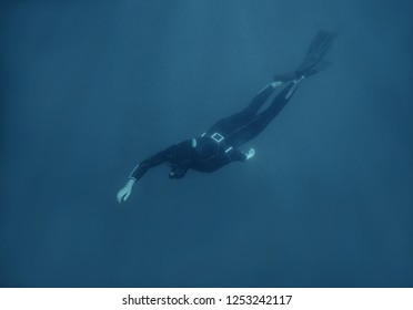 Active young man freediver in wetsuit swimming underwater.