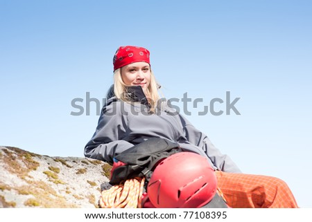 bffde466969 Active Young Woman Rock Climbing Relax Stock Photo (Edit Now ...