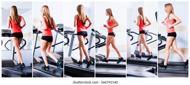 Active young woman running on treadmill at the gym exercising.