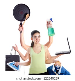 Active young woman with six hands representing multitasking machine.