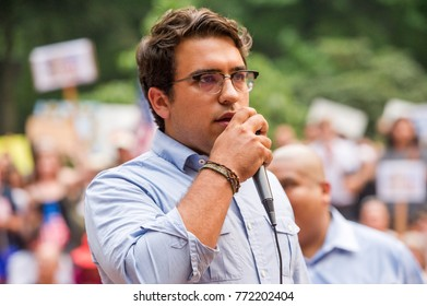 An activist for Milenio.org organization speaks at a rally to protest president Donald Trump's decision to end DACA in Downtown Portland, Oregon, on September 5th, 2017.