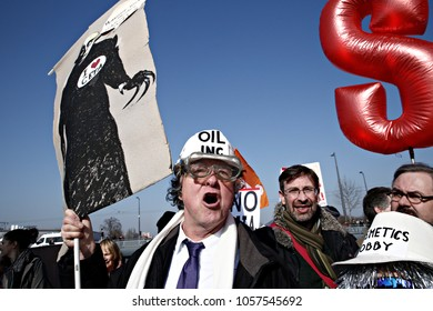 Activists demonstrate against the Transatlantic Trade and Investment Partnership (TTIP)  in front of the EU Parliament in Strasbourg, France on Feb. 15, 2017