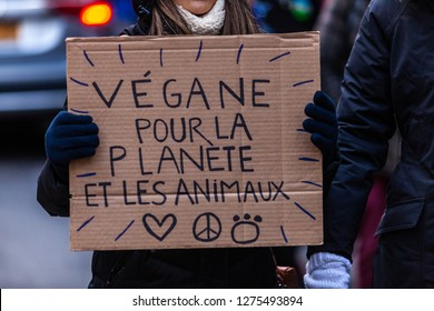 Activists marching for the environment. French sign seen in an ecological protest saying vegan for the planet and the animals