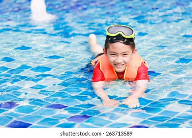 Activities on the pool, children swimming and playing in water, happiness in summertime
