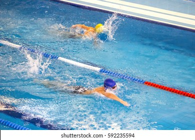 Activities on the pool children swimming fitness, competition.