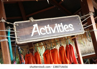 activities on the wood sign