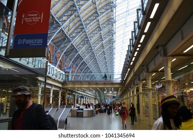 Activities at St Pancras with shops and travelers - London, UK - 08/02/2015