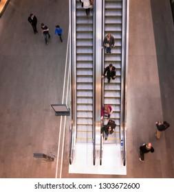 Activity on escalator
