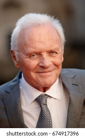 Actor Anthony Hopkins arrives on the red carpet at the Transformers The Last Knight movie premiere on June 20, 2017 in Chicago.