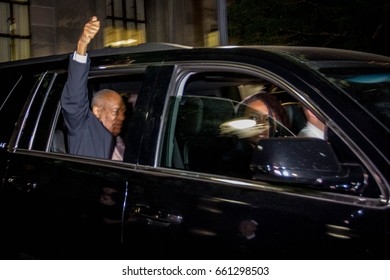 Actor Bill Cosby leaves the Montgomery County Courthouse in Norristown, PA after the 10th day of his sexual assault trial, Friday, June 16, 2017.