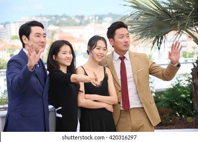 Actor Cho Jin-Woong, Ha Jung-Woo attends 'The Handmaiden (Mademoiselle)' photocall during the 69th annual Cannes Film Festival at the Palais des Festivals on May 14, 2016 in Cannes, France.