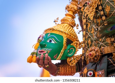 The actor holding kind of Thai drama Ramayana mask.  Khon is a noble Thai art of elegance. Elegant and delicate One type of dance performance based on drama