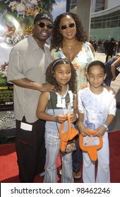 Actor LEVAR BURTON & family at the Los Angeles premiere of Rugrats Go Wild. June 1, 2003