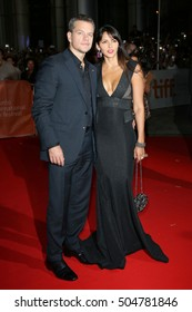 Actor Matt Damon and his wife Luciana Barroso attend the 'The Martian' premiere during the 2015 Toronto International Film Festival at Roy Thomson Hall on September 11, 2015 in Toronto, Canada.