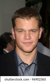 Actor MATT DAMON at the world premiere, in Hollywood, of his new movie The Bourne Supremacy. July 15, 2004