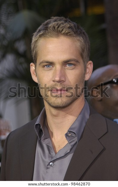 Actor PAUL WALKER at the world premiere of his new movie 2 Fast 2 Furious at the Universal Amphitheatre, Hollywood. June 3, 2003