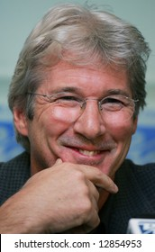 Actor Richard Gere attends a press-conference during Tibet Festival in Moscow on October 26, 2004
