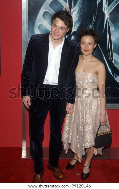 Actor RUPERT EVANS & girlfriend actress LYNDSEY MARSHAL at the Los Angeles premiere of his new movie Hellboy. March 30, 2004